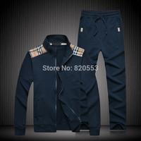 Top fashion  men's sports suit set casual set sweatshirt men's casual jacket +pants sportwears Free Shipping