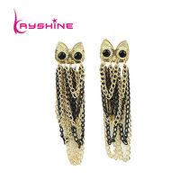Tassel Earrings Aulic Style Pendientes Black Color Big Earrings For Women With Luxury Rhinestone