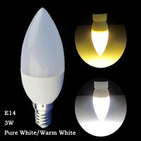 6 Pcs/lot 3W Candle Light Pure White/Warm White E14 LED Energy Saving Light Lamp Bulb AC220-240V PC cover Indoor Candle Bulbs