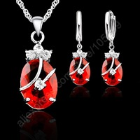 2015 New Fashion Austria Crystal Silver Earrings Necklace Jewelry Sets 925 Sterling Silver Classic Wedding Jewelry For Lover