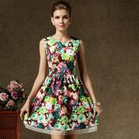 2014 new court exquisite printing color Suihua Princess vest belt
