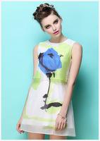 The 2014 women's European station new summer printed chiffon sleeveless dress