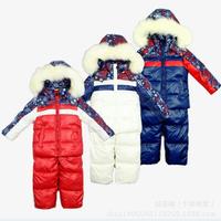 2014 New Children's Winter Clothing Set  Windproof Print contrast color Warm Coats Fur Jackets+Bib Pants kids Ski Suit 3 Colors