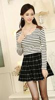 [No.24]2014 autumn cotton o-neck long-sleeve t-shirt fashion patchwork design basic shirt for women female casual stripe t shirt