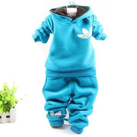 2014 auutmn and winter children suits clothing double fleece Plus velvet thick sweater two pieces sets 1-4 years old