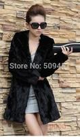 2014 Winter fur coat medium-long overcoat faux Rabbit Fur outerwear Women Plus Size hood Winter Coat S-- XXXL
