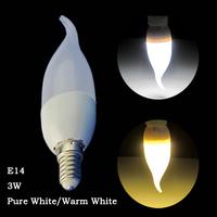 6 Pcs/lot E14 Pure White/Warm White 3W Plastic Shell Energy Saving Candle Light 210LM AC220 Indoor LED Candle Light Lamp Bulb