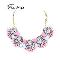 Pink Imitation Gemstone Charm Alloy New Fashion Designer Choker Necklace Fashion Jewelry Christmas Gifts For Women