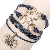 1pcs 2014 New Braided Leather Bracelet + wax rope + metal accessories , Brand Women Men Vintage Bracelets Bangles FreeShipping