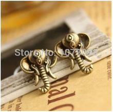 The new European and American retro cute mini jewelry cute little elephant earrings Free Shipping(China (Mainland))