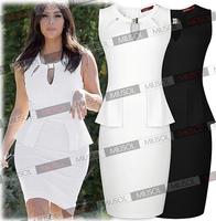 New 2014 women Elegant Celebrity Brand Plus Size XS-XL Sleeveless Knee-Length Bodycon Sexy Casual Pencil Dress Free shipping