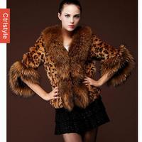 Ctrlstyle Fox Fur Excellent Quality Winter Outwear Women Fur Coat Warm Leopard Coat Big Size+Free Shipping