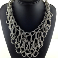 New Specilal Vintage Brand Lady New Style Jewelry Fashion Sliver Chain Braid Metal Net  layer Mesh Choker Jewelry Bib Necklace