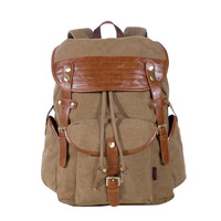 Rivets leather 3 colors 3 exterior pockets canvas men's travel bags notebook bag women's backpack fashion brand YP213K