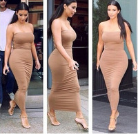 2014 summer women sexy strapless long dress bandage bodycon Kim Kardashian Celebrity casual Dress