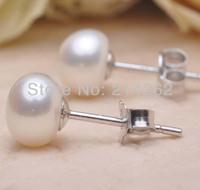lots 10-11mm Bg Bread pearl genuine freshwater pearl studs earring 245#