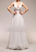 Affordable A-Line V Neck Chiffon Floor Length  Flowered Backless Wedding Dresses