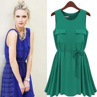 2014 newest good quality Slim temperament chiffon belt Pastoral College Wind Dress green free shipping