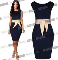 New 2014 women Elegant Celebrity Brand Plus Size XS-XL Sleeveless Knee-Length Stretch Bodycon Casual Pencil Dress Free shipping