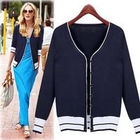 2014 New European&American style women's jacket Fashion striped long-sleeved knit cardigan sweater women's casual sweaters