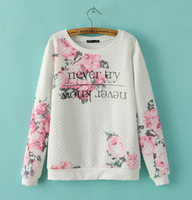2014 Autumn New Fashion Ladies' Elegant Pink Flowers Letters Printing O Neck Long-sleeved Quilting Pullover Sweatshirt st330