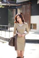 Autumn Winter 2014 Fashion Women Long Sleeve O-Neck Ladies Bodycon Party Casual Leather Patchwork Pencil Dresses Plus Size S-L