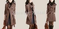 2014 Women's Coat New Fashion European Fashion Overcoat Wool Blended Double-Breasted Warm Jacket Plus Size Winter Coat 4XL