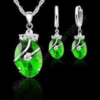 2014 Hot Sale Fashion 925 Sterling Silver Crystal Pendants Necklace/Earrings Wedding Accessories Jewelry Sets For Women Gifts
