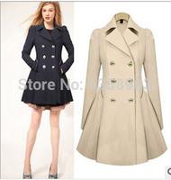 2014 New Designer Fall/Winter High quality Coat Women Clothing Classic Lapel Double Pocket Longline Wool Oversized Coat BJ009