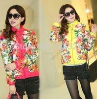 New ! 2014 fashion slim cotton prints short design women Autumn Floral wadded jacket cotton-padded jacket Free shipping