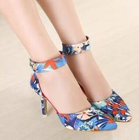 woman high stiletto heel platform pumps ladies shoes sexy flowers printed shoes dress shoes blue pink  chq333-9