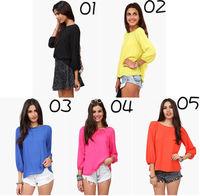 Fashion Women's Chiffon Long Sleeve Shirt Sexy Leopard Loose Tops Blouse T-Shirt cloth001