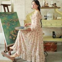 Autumn Spring Outfit Brand Elegant Women Dress 2015 Chiffon Dress Beautiful Ruffled Collar Empire Long-sleeved Maxiskit W23194