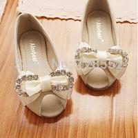 2014 genuine leather bow diamond open toe medium-large girls princess shoes single shoes