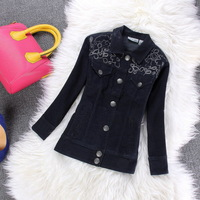 2014 New Fashion Lace Flower Embroidery Cowboy Coat  Women Autunm Coats Denim garments Stretch Embroidery Jean Jacket