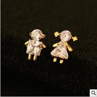 YTEH92 Designer Luxury Fashion Zircon Lover Boy Girl Asymmetric Stud Earrings For Women Party Gift 18K Real Gold Plated Brincos