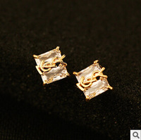 YTEH89 Brand Luxury Charm Clear Square Zircon YL Letters Stud Earrings For Women Real 18K Gold Plated Earrings Jewelry Brincos