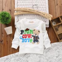 2014 baby cartoon fashion bear cow boy hoodies baby boys baby girls clothes sweatershirts KT250R