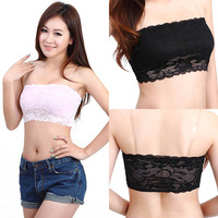 Free & Dropshipping Hot Sexy Women Lace Chiffon Solid Color Stretch Vest Crop Tops Floral Sheer Tube Top