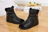 Free Shipping Top Quality Black Suede Ankle Designer Snow Boots INSIDE FULL FUR Size 34-39