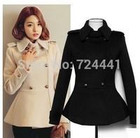 New Fashion European Fashion Overcoat 2014 Women's Coat Wool Blended Double-Breasted Warm Jacket Vintage Winter Coat 2XL