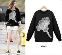 2014 New fashion Women' clothing casual bat sleeve Pullover sweatshirt with Jasmine printed ,women sweater 2 color S-XL#T48709