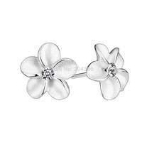GNE1027 Wholesale Fashion Jewelry Alice & Flower Stud Earrings for Women 925 Sterling Silver Jewelry CZ Earring Free Shipping