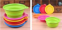 150pcs/lot silicone folding pet bowl Environmental silicone pet bowl Portable pet bowl for dogs and cats