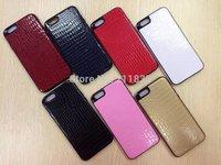 Fashion Luxury alligator Crocodile snake lizard grain color stripe PU leather TPU cover case for iPhone 6 Plus 5.5Inch