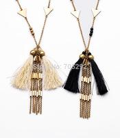 New Vintage Brand Gold Long Statement Tassel  Pendant Necklace for Women