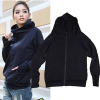 2014 Hot New Zipper Fly Korean Casual Sports Women Hoodies All-match Pockets Long Sleeve Cotton Sweatshirts 682