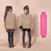 Retail Girls faux fur coat Autumn/Winter Clothes Children Kids Toddler children's Sweet flower outerwear jacket Warm clothing
