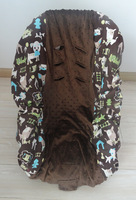baby car seat  cover dog with coffee dots minky toddler +free shipping