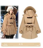 2014 women's cloak with a hood turn-down collar slim waist slim medium-long women's cashmere outerwear